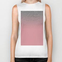 Modern faux silver glitter blush coral gradient Biker Tank