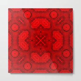 Victorian Art Deco Medieval Pattern bright red SB26/2 Metal Print