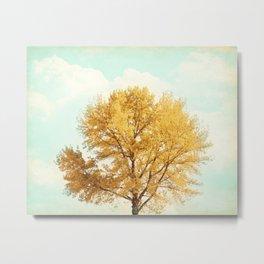 Autumn Fall Tree Photography, Gold Orange Yellow Trees, Mint Teal Aqua Turquoise, Golden Nature Sky Metal Print