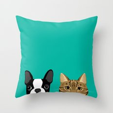 Boston Terrier & Tabby Throw Pillow