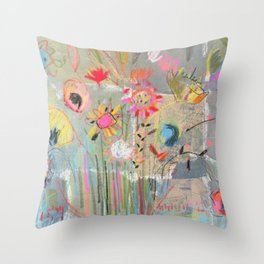 fresh pot of flowers for you Throw Pillow