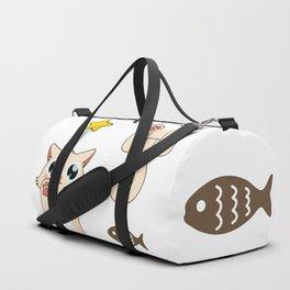 Cream Pastel Cat Duffle Bag