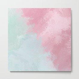 Modern abstract pink teal watercolor pattern Metal Print