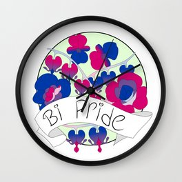 Bi Pride Flowers Wall Clock