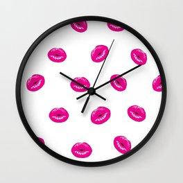 Make up.Pink Lips ,kisses pattern decor Wall Clock