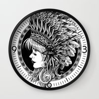 headdress Wall Clocks featuring Headdress by BIOWORKZ