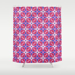 Watercolor Geometry Mod Pink Shower Curtain
