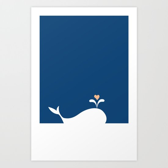 Whale in Blue Ocean with a Love Heart Art Print