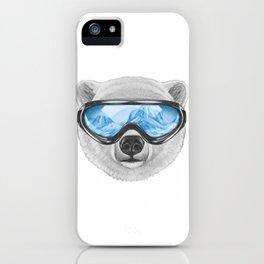 Portrait of Polar Bear with ski goggles. iPhone Case
