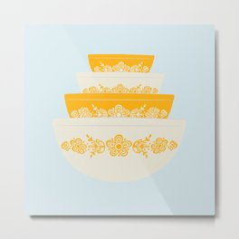 Butterfly Gold Pyrex Metal Print