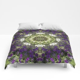 Icy White and Rich Violet Petunias Kaleidoscope Comforters