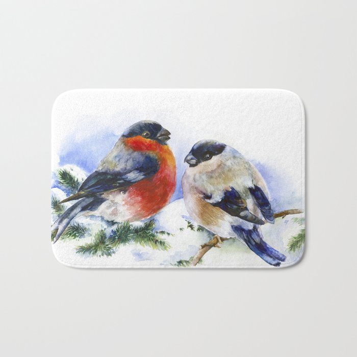 Bullfinches in winter time. Christmas Watercolor Art Bath Mat