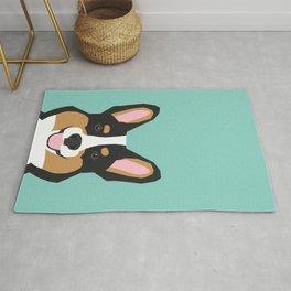 Tricolored Corgi cute corgi dog portrait custom dog art pet friendly dog head cell case Rug