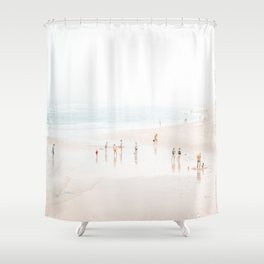 At the Beach (five) - minimal beach series by Ingrid Beddoes Shower Curtain