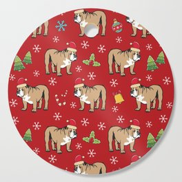 English Bulldog on Christmas Day Cutting Board