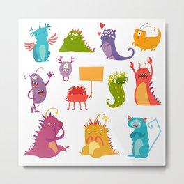 Monsters vector set. Kids cartoon toy, colorful cute monster Metal Print