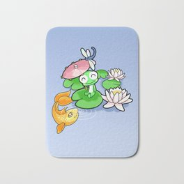 The Frog, The Fish and The Water Lilies Bath Mat