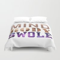 crossfit Duvet Covers featuring Mind, Body, & Swole by Free Specie