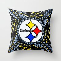 steelers Throw Pillows featuring New Tribal Steelers by Lonica Photography & Poly Designs