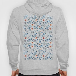 Hand painted watercolor orange pastel blue floral Hoody