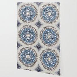 Bright Blue Marble Mandala Design Wallpaper