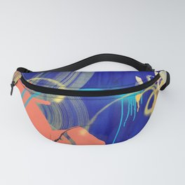 Everything Is Peachy raw canvas mixed media painting Fanny Pack