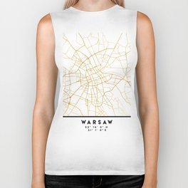 WARSAW POLAND CITY STREET MAP ART Biker Tank