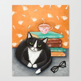 Cats, Tea, and Books Canvas Print