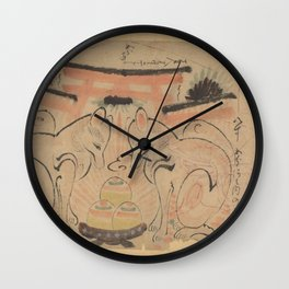 Two foxes in front of the torri of the Inari Jinja, anonymous, 1800 - 1900 Wall Clock
