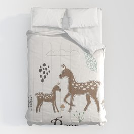 Cute Winter Icon with Deer. Hand Drawn Scandinavian Style Comforters