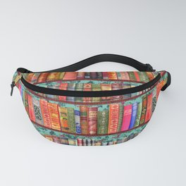 Vintage Books / Christmas bookshelf & holly wallpaper / holidays, holly, bookworm,  bibliophile Fanny Pack
