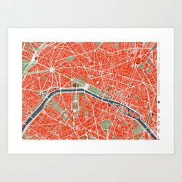 Paris city map classic Art Print