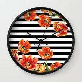 Red Orange Tulips Black Stripes Chic Wall Clock
