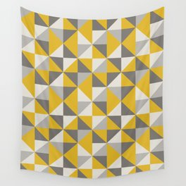 Retro Triangle Pattern in Yellow and Grey Wall Tapestry