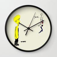 moby dick Wall Clocks featuring MOBY & DICK by Pierrot Doll Design Studio