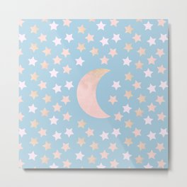 sweet pastel gold colors moon and stars bluish gray background Metal Print