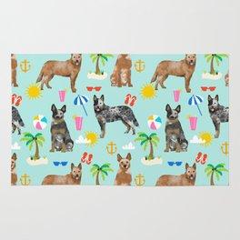 Australian Cattle Dog beach tropical pet friendly dog breed dog pattern art Rug