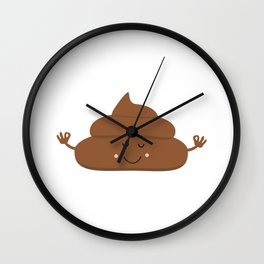 Meditating poo Wall Clock