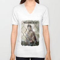 the walking dead V-neck T-shirts featuring The Walking Dead by ketizoloto