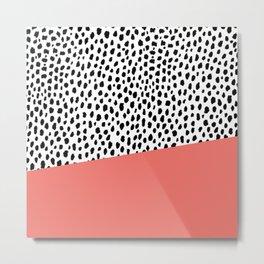 Dalmatian Spots with Coral Stripe (Pantone Living Coral) Metal Print