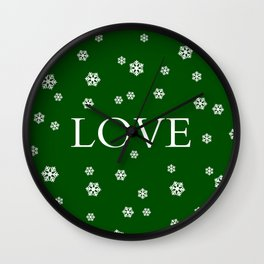 Winter Love - hunter green Wall Clock