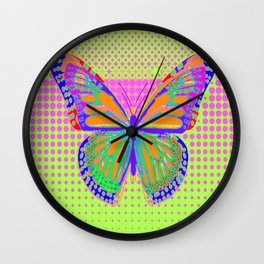 Fantasy Monarch Type Butterfly In Pink, Chartreuse & Indigo-Blue optical Art  Abstract Wall Clock