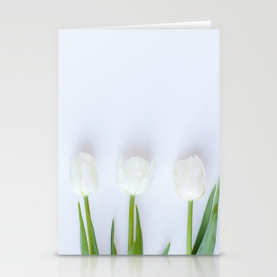 Three White Tulips Stationery Cards
