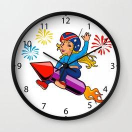 rocket girl cartoon Wall Clock