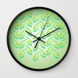 Garlands of leaves in lime green Wall Clock
