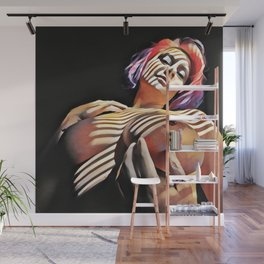 2376s-JG Jessica Striped in Light, Beautiful Big Bare Breasts Wall Mural