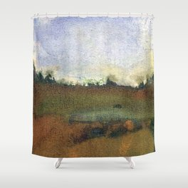 English countryside watercolour and ink landscape painting Shower Curtain