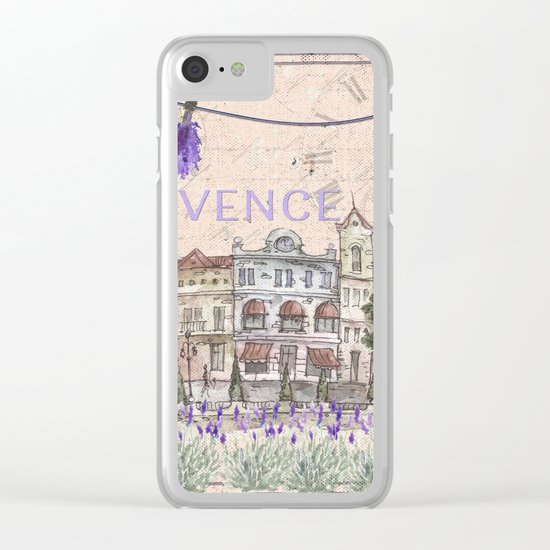Provence - my love  - Lavender Watercolor Illustration Clear iPhone Case