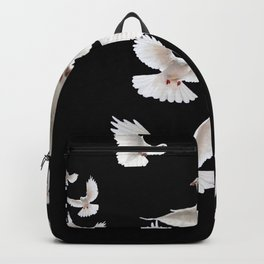 WHITE PEACE DOVES ON BLACK COLOR DESIGN ART Backpack