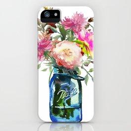 Pink Peonies in Mason Jar iPhone Case